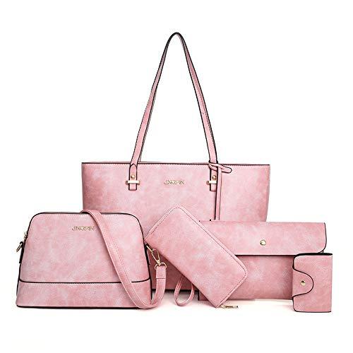 Handtaschen-Set für Damen 5er Pack Tote Geldbörse Handtaschen Set PU-Leder Schulranzen Umhängetasche Brieftasche Kartenhalter Taschenset, Rosa