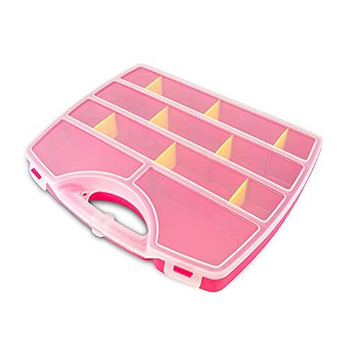 Maletín organizador, Caja de Almacenamiento Transparente Caja Compartimentos de Plástico con Separadores Ajustables( Tornillos, Hilos, Materiales de coser,...)(Rosa)