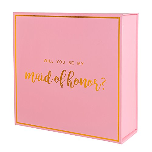 Crisky Pink Maid of Honor Proposal Box with Gold Foiled Text | 1 Empty Boxes | Perfect for Will You Be My Maid of Honor Gift and Wedding Present