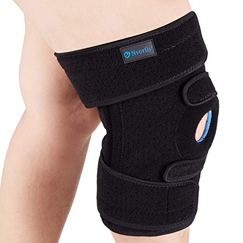 Nvorliy Plus Size Adjustable Knee Brace - Lengthened and Widened Design, Extra Large Open Patella Knee Support for Running, Sports, Arthritis, ACL, LCL, MCL, Pain Relief, Fit Women & Men (5XL/6XL)