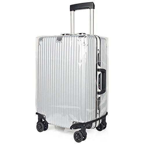 kroeus(クロース)スーツケースカバー 透明 防水 汚れ防止 キズ保護 防塵 レインカバー 旅行 ビニール マジックテープ ラゲッジカバー 無地 トランクカバー 30