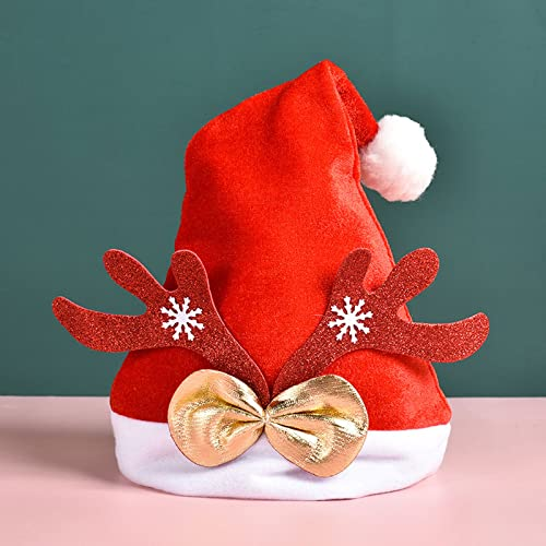 Sombrero de Navidad de felpa suave Sombrero de Navidad para nios / adultos Sombrero de Pap Noel Sombrero de fiesta de Navidad de felpa suave Sombrero de invierno clido Tocado de navidad infantil