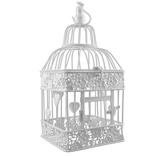 PrimoLiving Vogelkäfig aus Metall eckig weiß P-333 klein (mit Herzen)