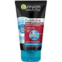 Garnier Skin Active - Pure Active, Gel Limpiador de Poros y Exfoliante Facial con Carbón 3 en 1 - 150 ml
