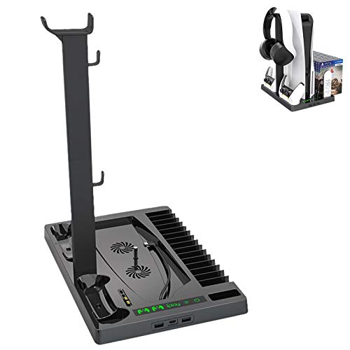 Ermorgen Vertical Stand Compatible for PS5 Console, Stand with Cooling Fan and Controller Charger for Playstation 5, Dualsense Charging Dock with 15 Game Disc Storage - Black