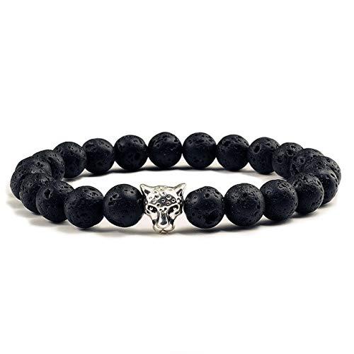 DJMJHG Pulsera con Cabeza de Leopardo, Piedra de Lava Mate Negra, oración de Buda, brazaletes de Cuentas de Piedra Natural curativa para Mujeres y Hombres, Piedra volcánica