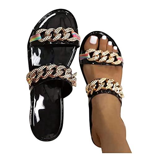 LLDG Damen Sandalen Sommer Strandsandalen Freizeit Flache Hausschuhe mode Metall Kette Flip Flops Offene Schuhe Slippers Schlappen Frauen Sommerschuhe Slingback Sandalen