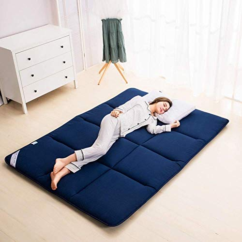 Japanese Foldable Mattress, Breathable Comfortable Sleeping Pad Thick Japanese Tatami Floor Mat For Living Room Dormitory Camping (Color : Blue, Size : Queen: 150x200cm)