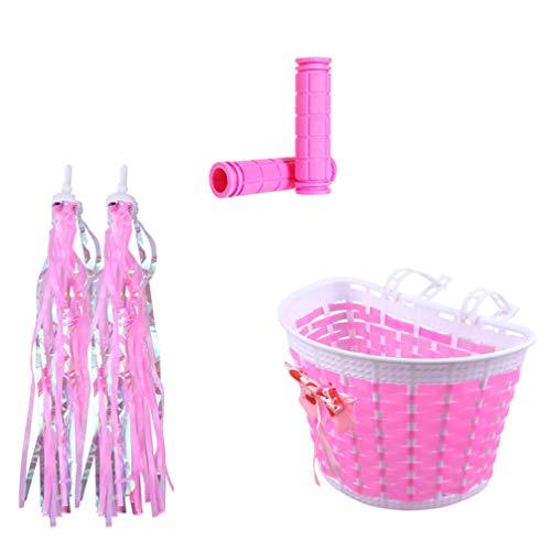 BESPORTBLE - Juego de accesorios para bicicleta para niña, para bicicleta, manillar delantero y manillar, serpentinas, borla de Navidad, cumpleaños, regalo de Navidad, color rosa