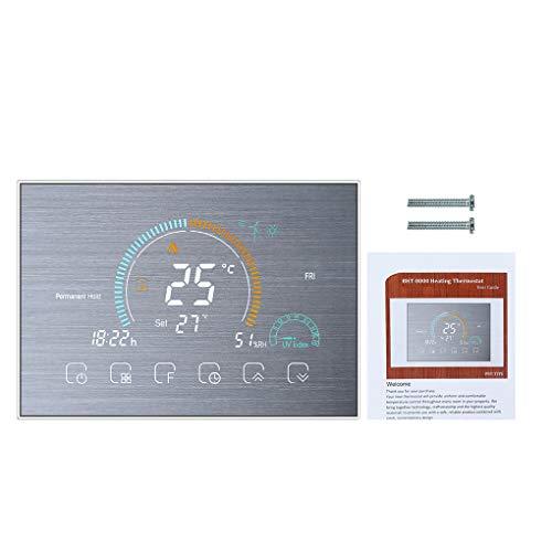 Vokmon WiFi Termostato Programable de LCD retroiluminado eléctrico WiFi termostato programable de calefacción Controlador de Temperatura, de Plata