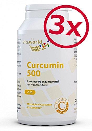 3er Pack Vita World Curcumin 500 3 x 120 Vegi Kapseln Curcumin C3 Complex® Apotheker-Herstellung 95 % Curcuminoide schwarzer und Pfeffer Extrakt 50:1 Curcuma-Wurzelextrakt Curcuma