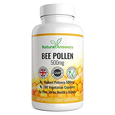 Bee Pollen 500mg   100 Vegetarian Capsules   Highest Quality Pure Bee Pollen   Energy Booster Vitamins A & B Complex   Improves Efficiency of Immune & Nervous System   Zinc and Magnesium   UK Made