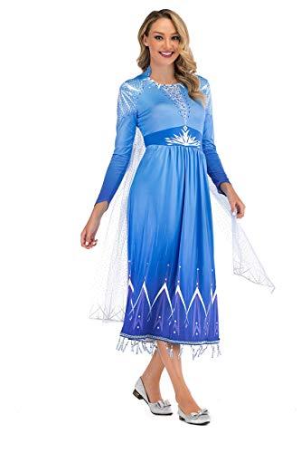 LOBTY Vestido de Princesa para Mujer Disfraz de Cosplay Vestido de Manga Larga Disfraz de Fiesta de Carnaval Disfraz de Fiesta de Halloween de Navidad Tiara,Varita,Collar,Pendientes,Trenza,Guantes