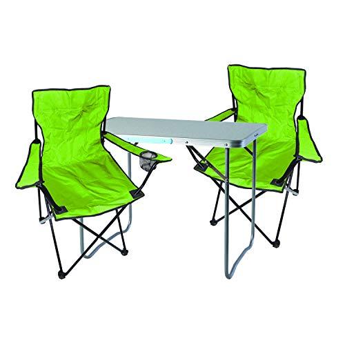 Mojawo 3tlg. Campingmöbel Set Alu 80x60x68cm 1x XL Campingtisch mit Tragegriff + 2 Anglerstühle, Faltstühle Campingstühle limegrün