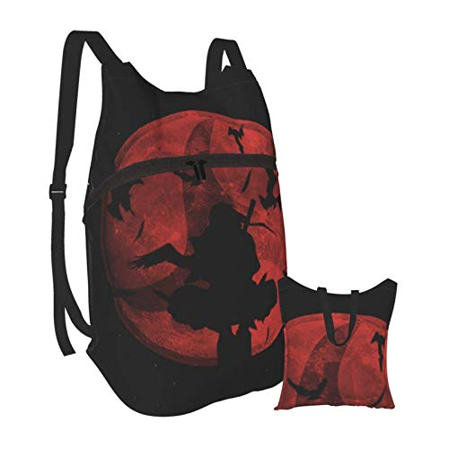 Naruto Anime Akatsuki Folding Portable Backpack Lightweight Packable Backpacks Travel Hiking Daypack Water Resistant Camping Outdoor Foldable for Men Women Travel Hiking Waterproof Backpack