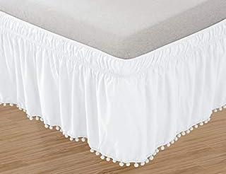 Elegant Comfort POM-POM-BedSkirt-Queen/King White Top-Knot Tassle Pompom Fringe Ruffle Skirt Around Style Elastic Bed Wrap...