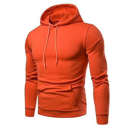 U/A - Sudadera casual con capucha para hombre Naranja naranja M