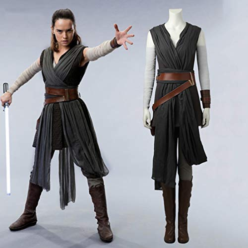 Rubyonly Las películas de Star Wars Disfraces Última Jedi Gris Rey Mujeres del Traje de Halloween para Adultos para el Traje Cosplay Mujeres Rey del Sistema Completo sin Zapatos,XS