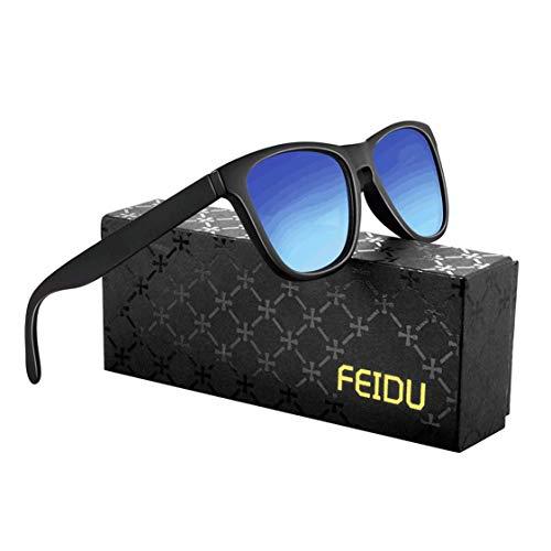 FEIDU Retro Polarisierte Damen Sonnenbrille Herren Sonnenbrille Outdoor UV400 Brille für Fahren Angeln Reisen FD 0628 (Blau, 60)