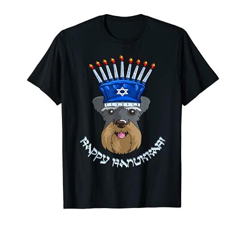 Schnauzer Menorah Hat T-Shirt Hanukkah Chanukah Shirt