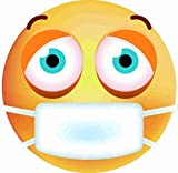kleberio Aufkleber Emoji Smiley mit Mundschutz Sticker Auto Motorrad Carravan wetterfest 10 x 10 cm