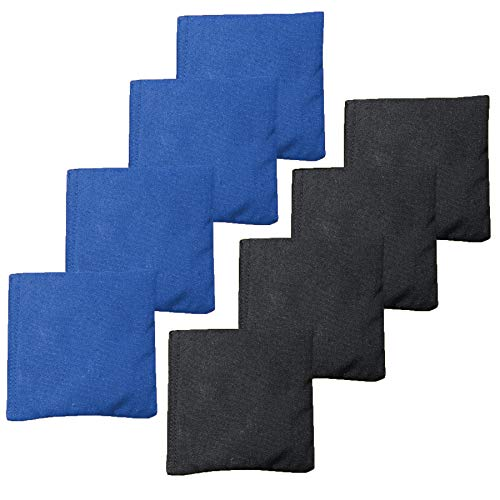 Weather Resistant Cornhole Bean Bags Set of 8 - Regulation Size & Weight - Blue & Black