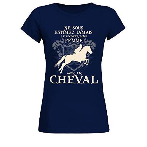 TEEZILY T-Shirt Femme Ne sous-Estimez jamais Le Pouvoir d'une Femme avec Un Cheval - Bleu Marine - S