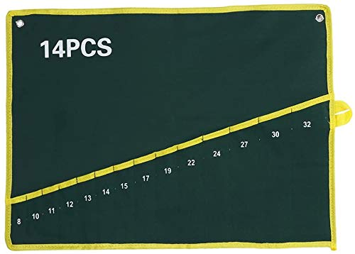 キャンバス スパナ レンチ 工具収納バッグ ツール袋 ポケット付き グリーン 耐久性 収納袋 ツールロール ロールアップ 作業道具 収納 省スペース (14)