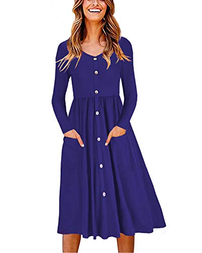 OUGES Women's Long Sleeve V Neck Button Down Midi Skater Dress with Pockets(Blue,XL)