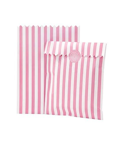 10 zakken voor snoep, roze gestreept. Geef je gasten een lief detail met deze roze snoepzakjes.