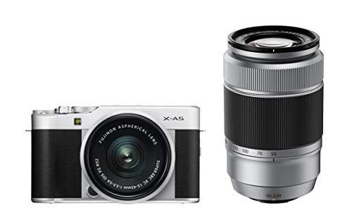 Fujifilm X-A5 Kit con ópticas Fujinon XC15-45mm + XC50-230mm, Color Plata