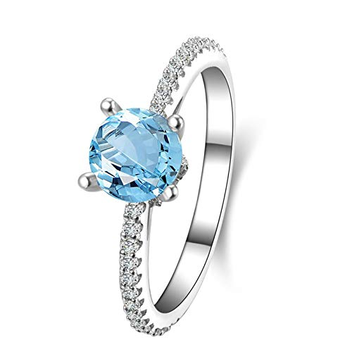 Adokiss Jewellery Ring for Women 925, Wedding Ring for Her Round 6.5X6.5MM Blue Topaz with White Cubic Zirconia   Silver   Size S 1/2   Birthday Gift for Your Wife/Girfirend/Mother