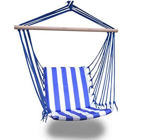 Hangmat schommelstoel, katoenen canvas hangstoelen, hangende touwstoel Buiten Indoor Hangmat Netstoel voor kinderen Baby volwassene, campingstoel-blauw