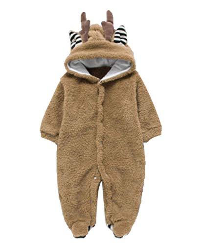 Newborn Deer Warmer Snowsuit Cotton Fleece Hooded Romper Jumpsuit for Baby Girls Boys (Coffee, 0-3 Months)