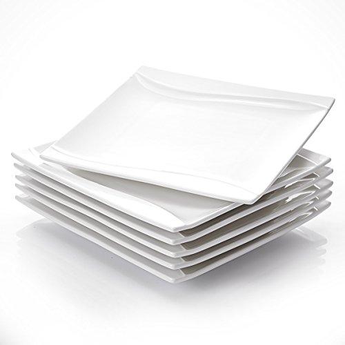 MALACASA, Serie Carina, Cremeweiß Porzellan 6 TLG. Flachteller 25,5 x 25,5 x 2,5 cm für 6 Personen