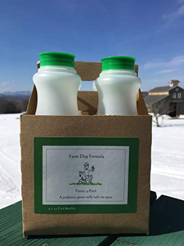 Farm Dog Formula - A probiotic kefir Made with Fermented raw Goats Milk - Digestive aid and Immune System Booster for Dogs and Cats - Frosty Four Pack