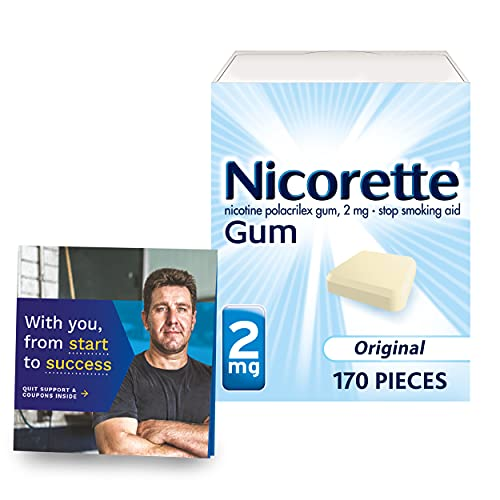 Nicorette 2mg Nicotine Gum to Help Quit Smoking Aid with Behavioral Support Program, Original Unflavored, 170 Count, Amazon Exclusive