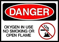 使用中の酸素は、喫煙または開いた炎を危険な金属警告サインを危険にさらします