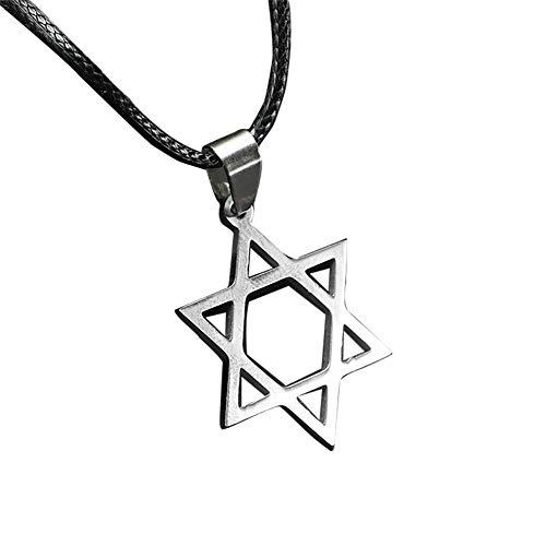 Davidstern-Anhänger-Halskette Unisex Edelstahl-Stern-Halskette 6 Punkt-Stern Halskette mit Leder-Kette