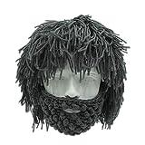 Peluca Creativa de Halloween Vikingo Gran Barba Larga Sombrero de Lana Mascarilla Gorro para Hombres Mujeres Otoño e Invierno Cálido y Divertido Gorra de esquí