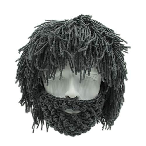 Yvonnelee Damen Herren Mütze Bartmütze Lustige Strickmütze mit Haare für Skilaufen Karneval Halloween Cosplay Party 1039