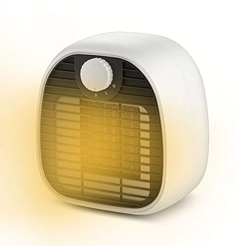CAMPSLE Calentador de ventilador, Mini calentador de espacio Ventilador eléctrico portátil, Control de temperatura inteligente Calentador de ahorro de energía personal con protección de seguridad