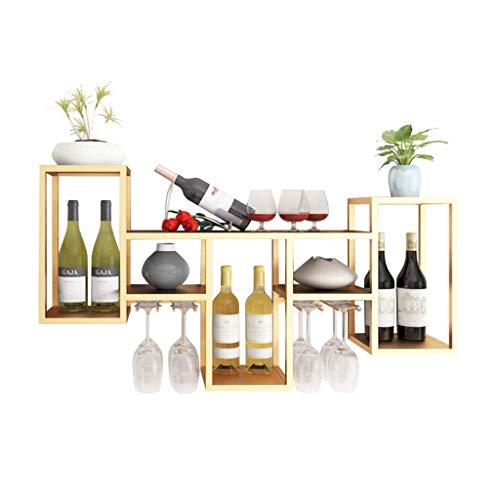 N\C ZSCC - Estante de almacenamiento de vino con champán de metal para montar en la pared, estantes de pared, 6 botellas de vino, 8 copas de vino, 106 × 20 × 58 cm