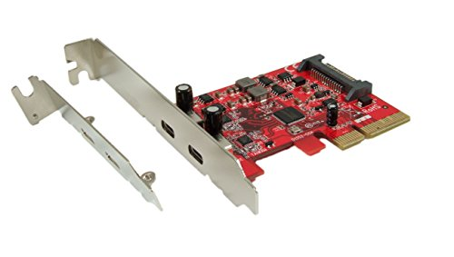 Ableconn PU31-2C-2 USB 3.1 Gen 2 (10 Gbps) 2-Port Type-C PCI Express (PCIe) x4 Host Adapter Card (ASMedia ASM2142 Chipset)