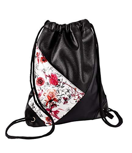 SIX Bolsa de deporte: divertida bolsa de deporte con flores y tonos brillantes, perfecta para verano y festivales, negro, blanco, rosa (726-571)