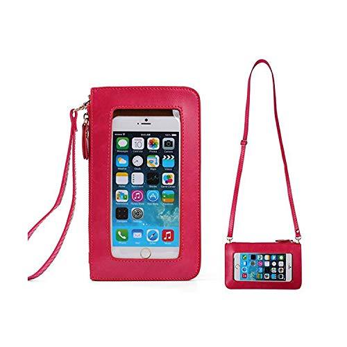 Small Women Crossbody Clutch Purse Cell Phone Wristlet Wallet Case Bag w/Cash Pocket For iPhone XS Max / 8 Plus / 7 Plus / 6S Plus / 6 Plus, iPhone XS/XR/X / 8/7 (Magneta)