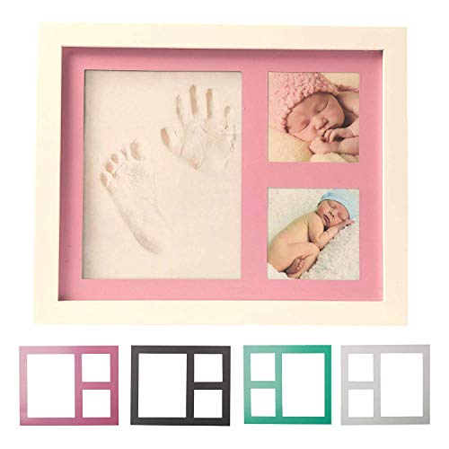 Kit de marcos de fotos y huellas para bebé, recuerdo de recuerdos, regalo para baby shower para niños y niñas, marco de fotos de arcilla y madera, soporte de pared y mesa incluidos