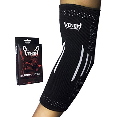 Venom Elbow Brace Compression Sleeve - Elastic Support, Tendonitis Pain, Tennis Elbow, Golfer's Elbow, Arthritis, Bursitis, Basketball, Baseball, Football, Golf, Lifting, Sports, Men, Women (Small)