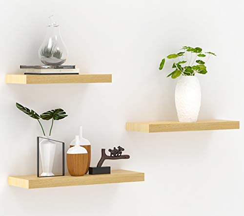 JaWu Wooden Floating Shelves – Set of 3 – Easy to Install, Long, Deep, Wide, Solid Pine Wood Floating Shelves - Rustic Décor, Cool Modern Wall Display and Organizer - 20 x 5.5, 17 x 5.5, 14 x 5.5 in…