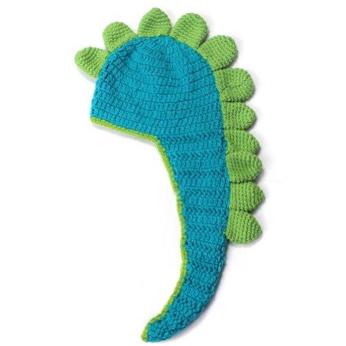 Pinzhi Cute Vert Laine à tricoter Dessin animé Dinosaure Style bébé pour bébé Casquette